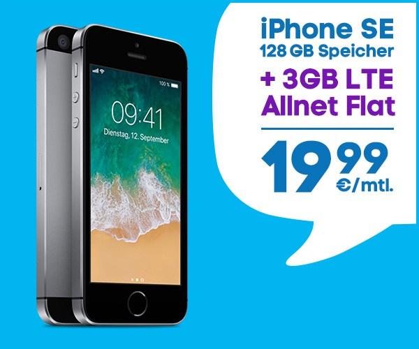 iPhone SE 128 GB plus blau Allnetflat Handytarif mit 3 GB LTE-Datenvolumen für monatlich nur 19,99 Euro