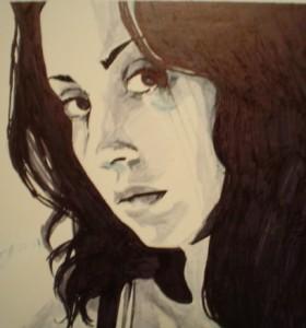 "{self portrait} 11"" x 14"", ink on illustration board"