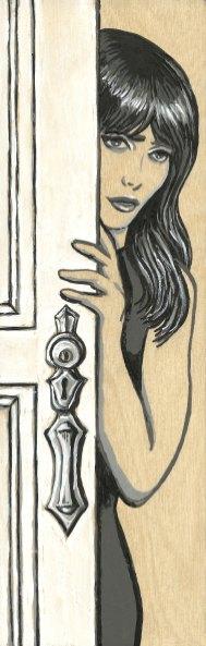 "*SOLD She Ajar 3x9"" Acrylic on Birch Panel"