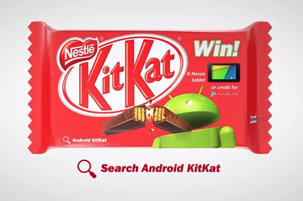 Android 4.4 Kitkat Schokoriegel / Quelle: Screenshot Youtube.com / t3n.de