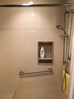 Seated Shower with Grab Bar and Hand-Held Shower Spray