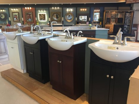 Shallow vanities with potbelly sinks
