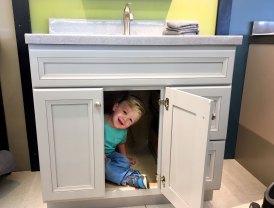Standard vanity with cupboard space