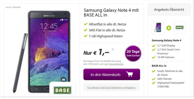Samsung Galaxy Note 4 + BASE all-in bei getmobile.de