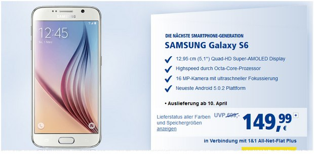 Samsung Galaxy S6 Vertrag mit 1&1 All-Net-Flat Plus
