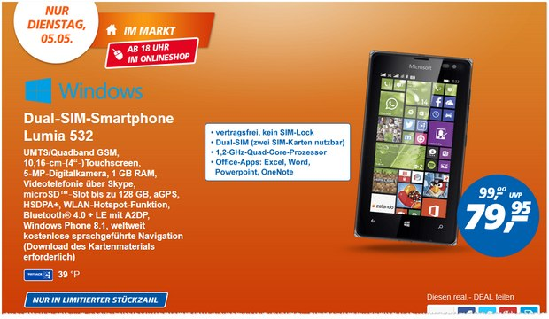 Real Deal des Tages am 5.5.2015: Microsoft Lumia 532