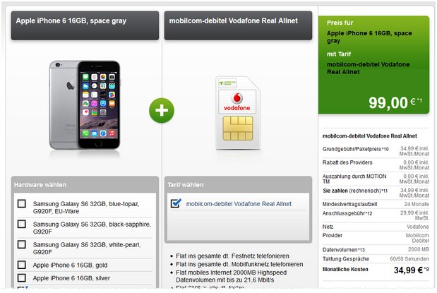 Vodafone Real Allnet + iPhone 6 bei Modeo