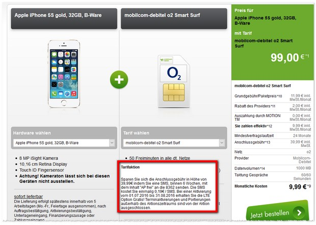 o2 Smart Surf LTE (md) + iPhone 5S (B-Ware)
