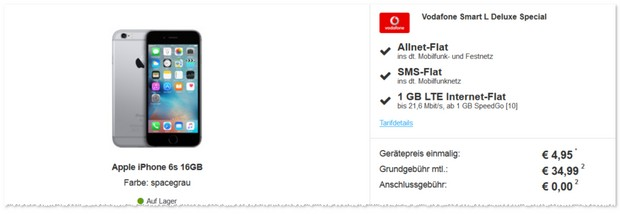 Vodafone Smart L Deluxe + iPhone 6S bei Sparhandy