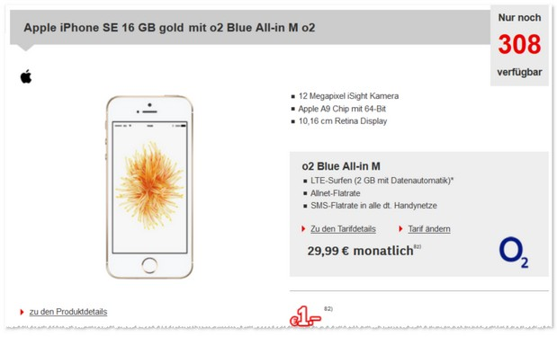 o2 Blue All-in M mit 2GB + iPhone SE bei Redcoon