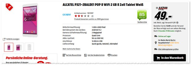 Alcatel Pop 8 Tablet im Angebot