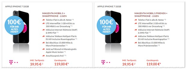 Magenta Mobil S Friends + iPhone 7 + Telekom Alt gegen Neu Aktion