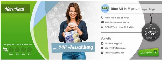 O2 Blue All-in M mit 24 Euro Cashback