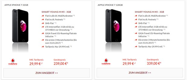 Vodafone Red Young M mit iPhone 7