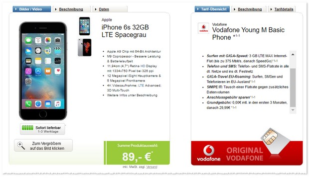 Vodafone Young M + iPhone 6S (32GB) mit Preissenkung