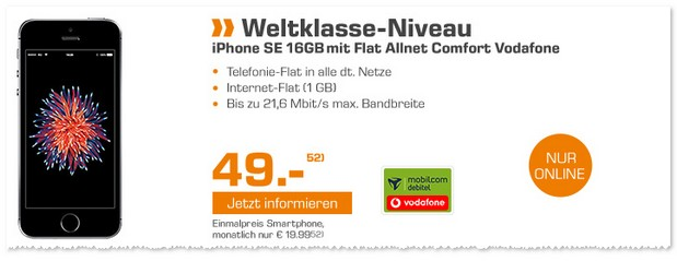 iPhone SE (16GB) mit Flat Allnet Comfort im Vodafone Netz via Saturn