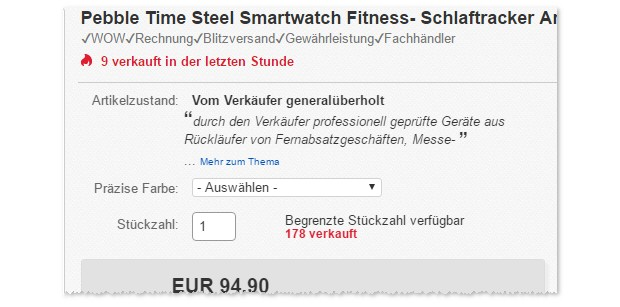 Pebble Time Steel als B-Ware-Angebot bei eBay am 25.1.2017