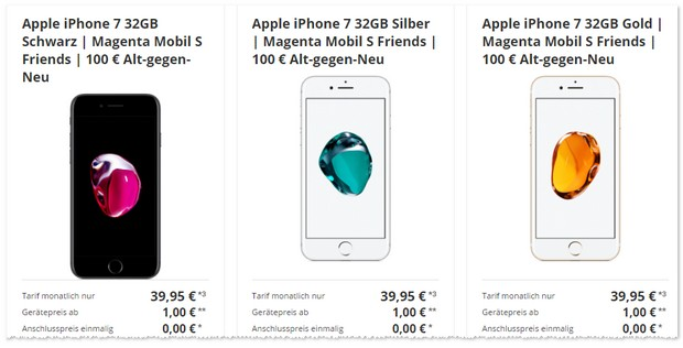 Magenta Mobil S Friendsund iPhone 7 + 100 Euro Cashback