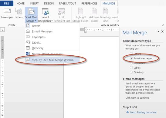 E-mail mailmerge