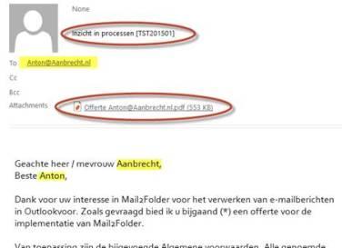 Gepersonaliseerd e-mailbericht met onderwerp en bijlage
