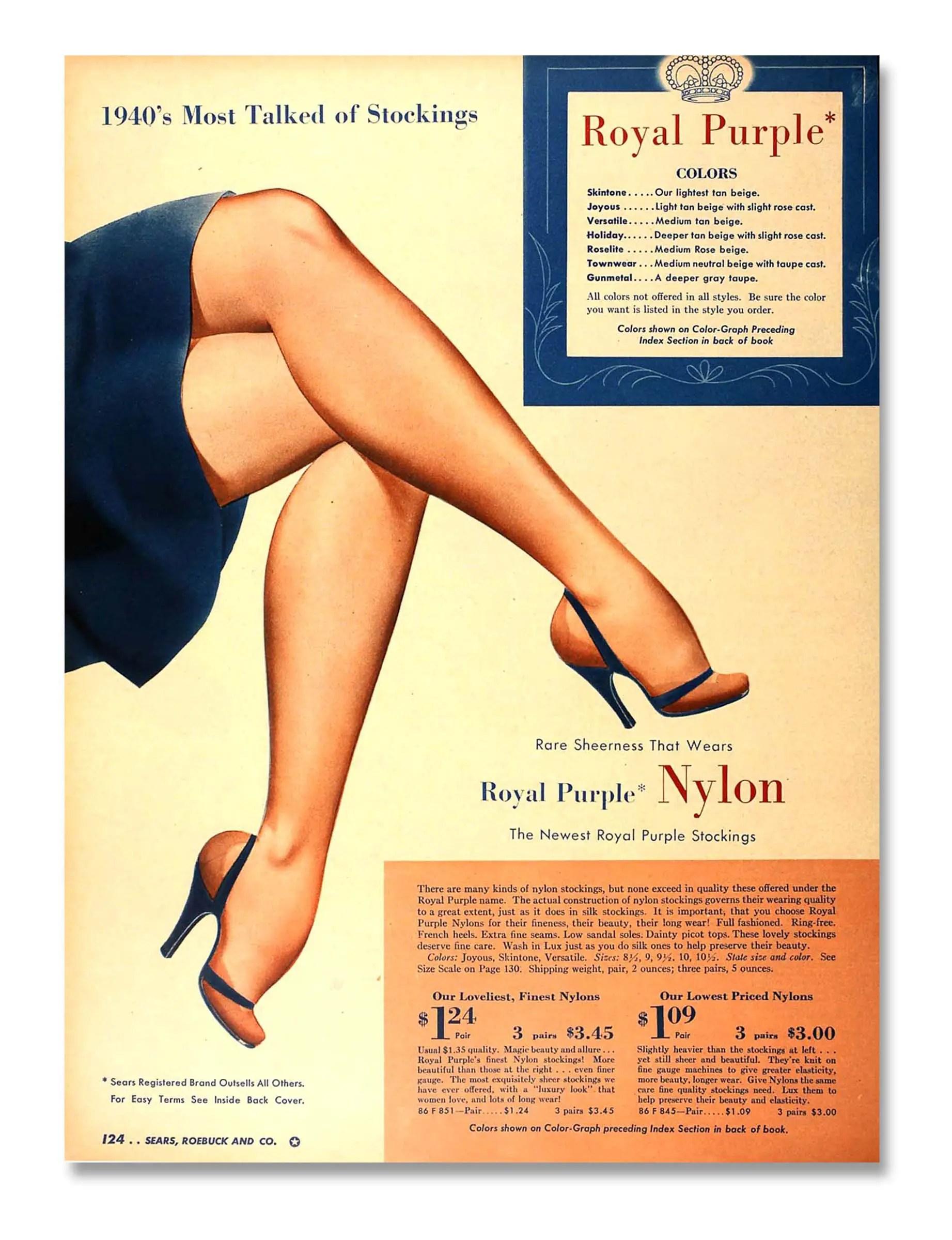 Nylon stockings in a Sears & Roebuck catalogue, 1940.