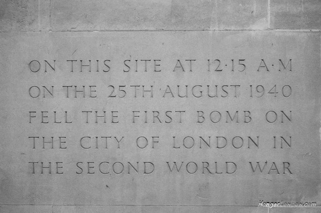 Memorial stone from city of London first bomb site 1940 on24th August into 25th August. Location EC2 currently Salters' Company.