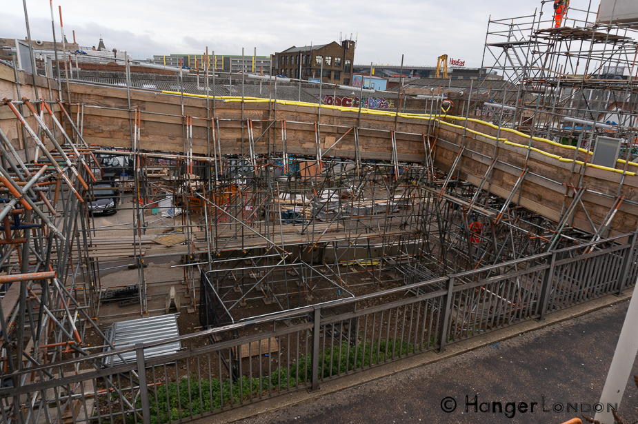 Hackney Wick view from the overground platforms construction area