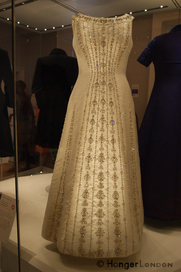 Princess Margaret, wore this dress in 1977 for the Silver Jubilee celebrations and when she met ABBA 1978 to present the Carl Alan award at the Variety Club Lunch. Gown by Designer Norman Hartnell. During a previous Kensington Palace exhibition.