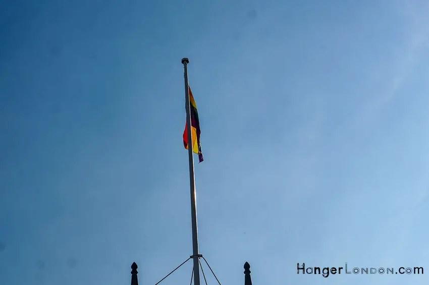 Rainbow flag high mast
