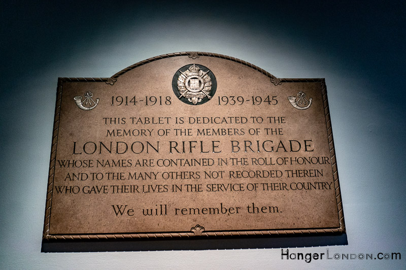 London Rifle Brigade Remembrance Plaque ST Boltoph BishopsGate