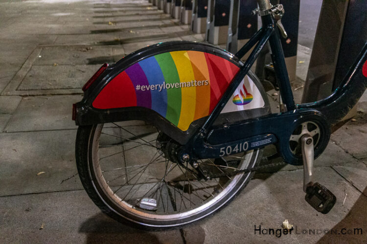 Hire bikes with Pride flag on the streets of London