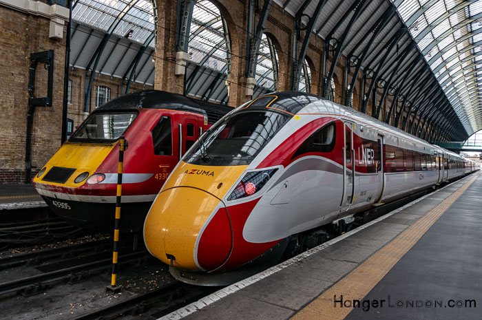 Yellow and Red nose of Azuma Train sitting at Kings Cross St Pancras Station