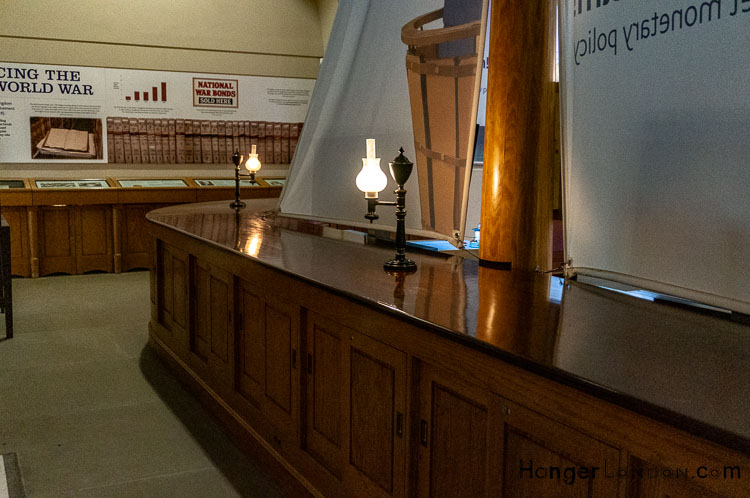 Bank of England Museum Wooden counters and lamps