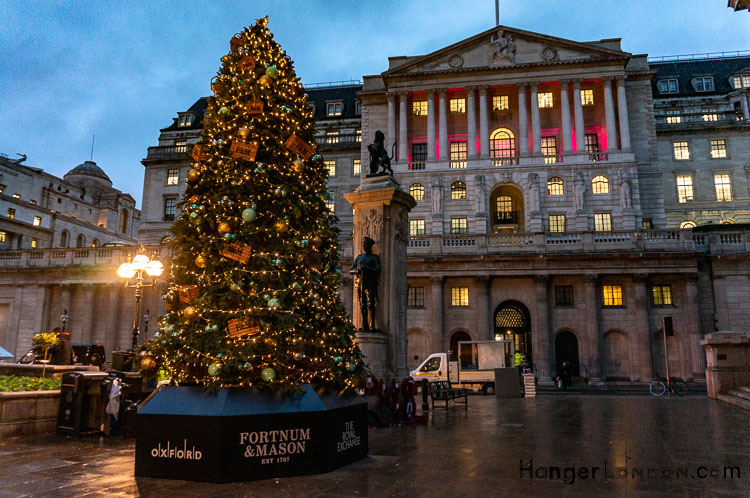 Bank of England facing the christmas tree outside the Royal Exchange