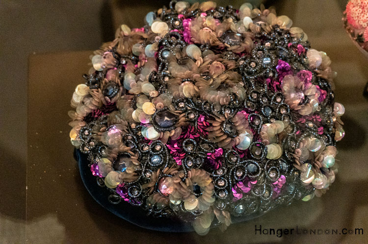 1950's hat Velvet, sequins and beads pinks silvers creams ivories pill box style by rébé Paris