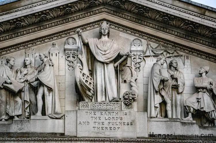Portico Pediment with sculptured Frieze Royal Exchange Bible verse inscription