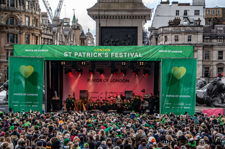 St Patricks Day London main stage trafalgar square