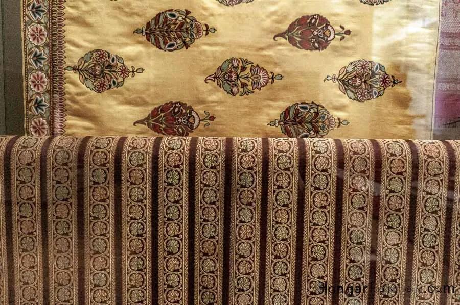 Varanasi India coloured woven silk with gold