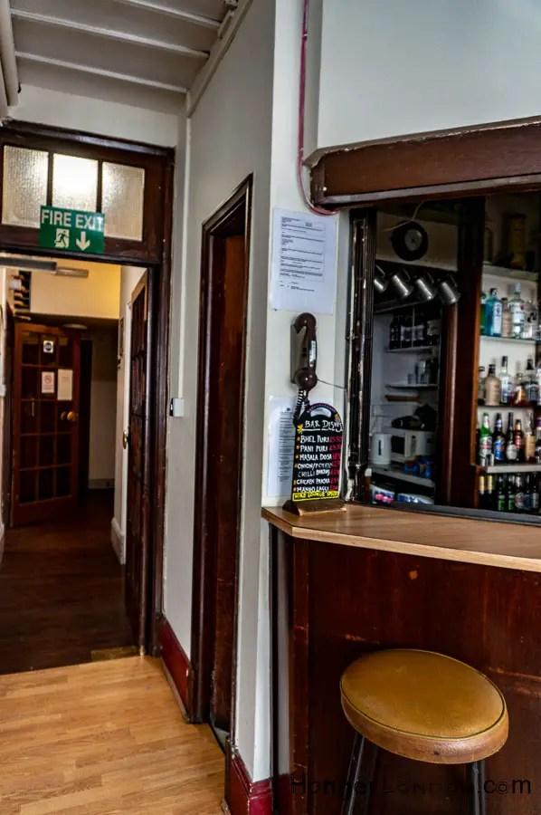 Bar area inside the India Club London