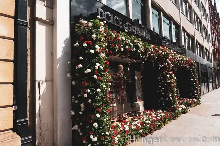 Floral shop front for D&G Chelsea