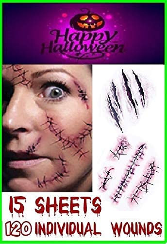 RMCtrends [Pack of 15 sheets] HD Ultra Realistic Halloween Tattoos Fancy Dress Party Costume Makeup Temporary Tattoos Stickers Decoration Fake Wounds Scars and Stitches Make Up x15 Tattoo Sheets 1