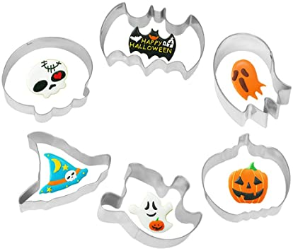6PCS Halloween Cookie Cutters Stainless Steel Biscuit Cookie Mold with Skull, Witch Hat, Bat, Ghost, Pumpkin Shape Halloween Cookie Decoration Tool 1