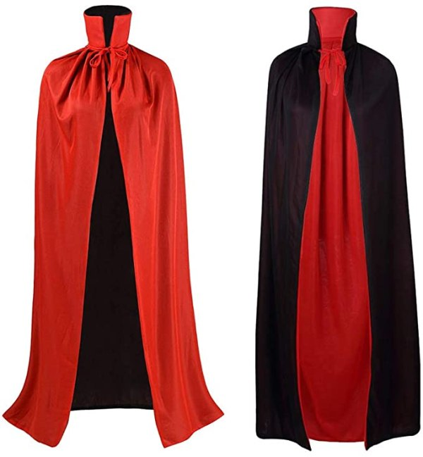 Flyglobal Halloween Vampire Cloak Red and Black Cape Dracula Costume Adult Witches Cape Fancy Dress for Men and Women, 140CM 1