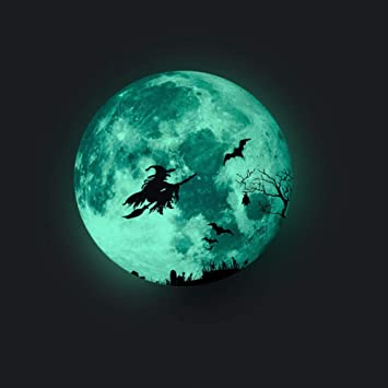 Feelava Halloween Witch Wall Sticker,1pcs 12in Halloween Witch Luminous Sticker,Glow in The Dark Moon Witch Decoration Wall Sticker,Bright Night Light Halloween Wall Sticker for Bedroom Living Room 1