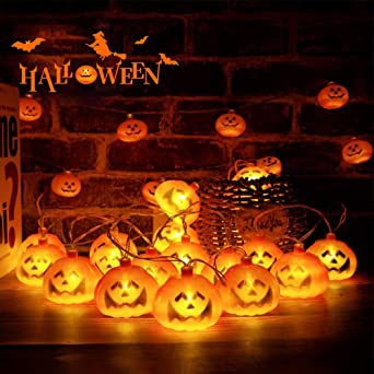 Halloween Pumpkin String Lights, 8.2ft 20LEDs Waterproof Battery Powered String Lights for Halloween,Festival, Theme Party Decoration,Warm White (3 * AA Battery not Included) 1
