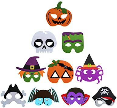 10 Pcs Halloween Masks Cartoon Felt Mask Witch Monster Bat Spider Masks for Halloween Party Supplies Kids Halloween Party Favors Classroom Prizes Trick or Treat Gifts 1