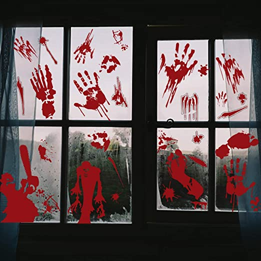 VEYLIN Halloween Window Clings,Self-adhesive Bloody Handprint Decals for Halloween Home Party Decoration, (6 Sheets) 1