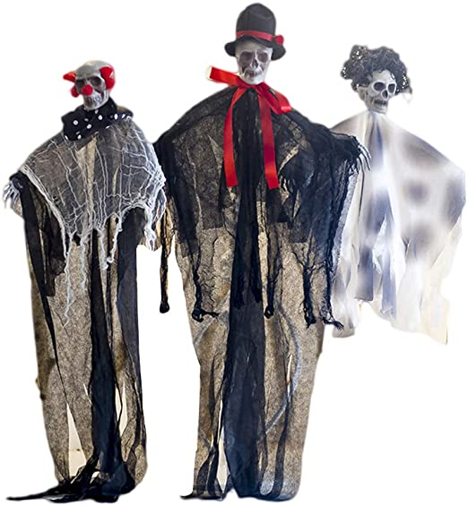 STOBOK Halloween Hanging Skull Ghost for Festival Haunted House Prop,Pack of 3 1