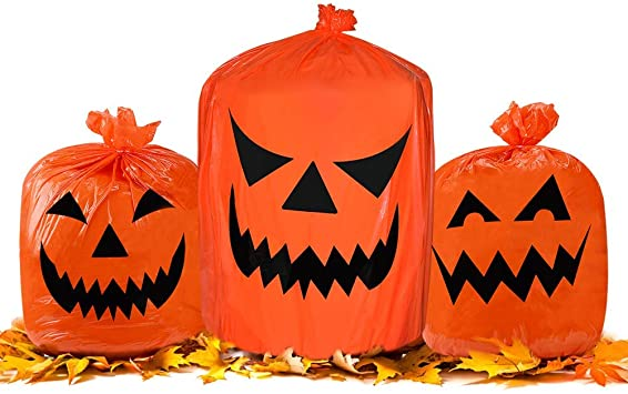 Halloween Pumpkin Plastic Trash Bags Outdoor Fall Leaf Hanging Bags for Halloween Decoration 1