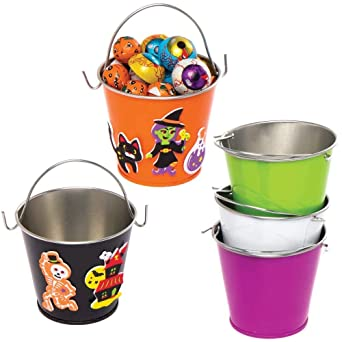 Baker Ross AX170 Mini Halloween Tin Bucket - Pack of 5, Halloween Decorations for Kids to Decorate and Display, Ideal Kids Arts and Crafts Project 1